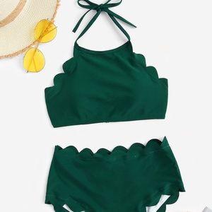 Plus Size High Waisted Scalloped Trim Bikini
